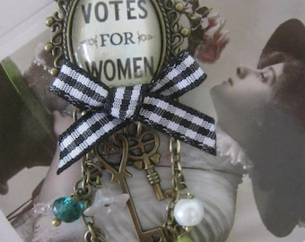 Vintage Votes For Women Suffragette Brooch - Unique, Beautiful, Handmade (FREE or LOW COST shipping)