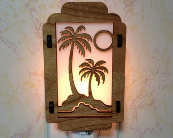 Palm Tree Night Light with Aloha Maui Sides