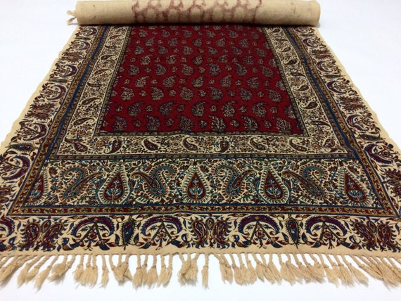 "Hand printed 78"" inches Red Table Runner- traditional block printed natural dyes cotton Fabric with tassel"
