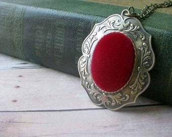 Red Velvet Cameo - Ornate Brass Pendant Necklace Keepsake - Secret Santa - Stocking Stuffer - Gift Box