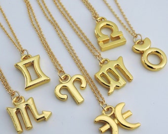 Gold Necklace - Birth Sign Necklace - Astrology Necklace - All Zodiac Signs - Personalized Necklace - handmade jewelry