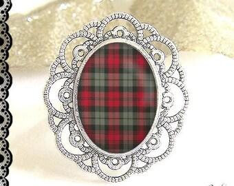 Adjustable ring, glass cabochon, 13 x 18 mm Scottish tartan (180218)