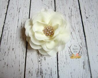 Cream Chiffon Rose Hair Clip - Bridal Flower - Gold Accent - Hair piece - Wedding - Cream Gold - Hair Flower - Bridal Fascinator