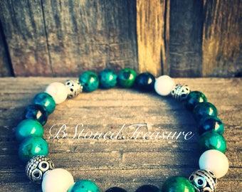 Chrysocolla and howlite bracelet