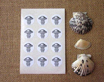 Jellyfish Stickers One Inch Round Seals