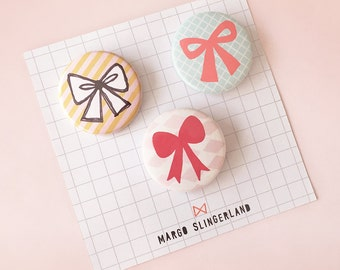 Set of 3 Bow Badges - illustrated bows - 1.5 inch pin button