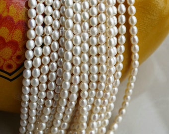4-5mm Pearl Rice Beads, High Luster Pearls, Rice Pearls, White Pearls, Genuine Oval Pearls, Smooth Pearls, Pearl Necklace Beads (ZZ85)