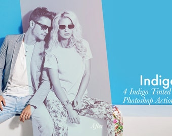 Indigo - 4 Photoshop Actions + Bonus INSTANT DOWNLOAD