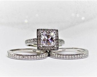 Wedding ring set,Princess Cut,1.28ct Sterling silver Bridal Halo Set,Simulated Diamond 3 Band Half Pave channel Set,BROOKE