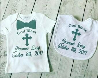 2 pc. set God Bless bodysuit and bib || Baptism||Christening|grey|| matching bib|| PERSONALIZED|| Baptism Shirt|Christening Outfit