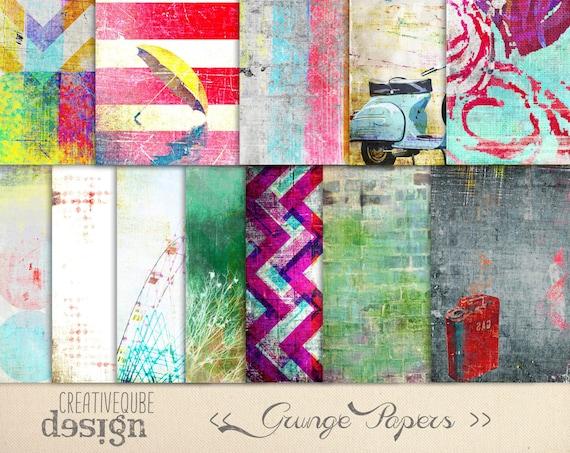 Digital paper, Digital Scrapbook paper pack - Instant download - 12 Digital Papers - Grunge textured