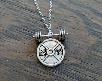 Weight plate and barbell necklace