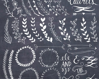 CLIP ART: Chalkboard Laurels & Wreaths // Clipart Photoshop Brushes // Hand Drawn // Ribbon Foliage Leaves // Vector Files // Commercial Use