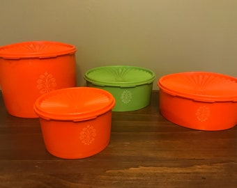 Vintage 1970s Tupperware Canister Set with Lids 4 Pieces Orange and Green