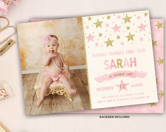 twinkle twinkle little star first birthday invitation, twinkle twinkle little star invitation, little star birthday, pink and gold glitter