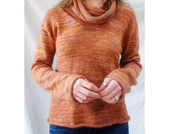 Sunset Cowl Neck Sweater Knitting Pattern