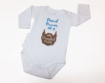 Hipster Baby Bodysuit for Boys or Girls, Baby Bodysuit, Stylish Shower Gift, Boys or Girls with Bearded Daddy, New Parent, Bearded Father