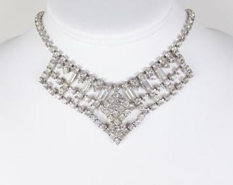 Vintage Rhinestone Necklace, Rhinestone Bib Necklace