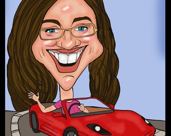 custom digital caricatures from photo's hand drawn. Unique fun caricature gift A3 print