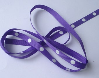 Purple Polka Dots ribbon Destash Purple and white