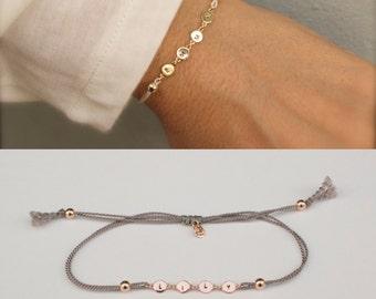 Name bracelet - Personalized silk bracelet  - customized bracelet - personalized gift - hand stamped name - personalized jewelry