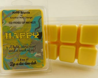 Soy wax melts, highly scented, wax tarts-Happy
