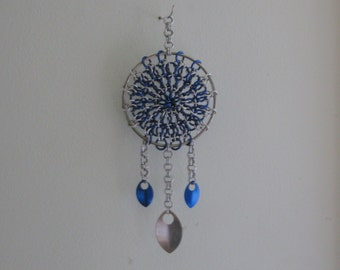 Blue and Silver Chain Mail Dream Catcher
