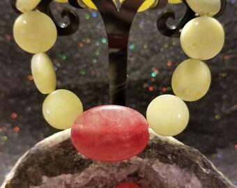 New handmade by seller genuine lemon jade and pink Hemimorphite stretch bracelet