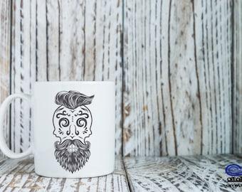 Day of the Dead Coffee Mug, Sugar Skull Coffee mug, El Dia De Los Muertos Coffee Mug, Rockabilly Coffee Mug, Skull Mug, Mug for Boyfriend