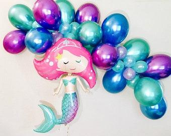 Mermaid Balloons, Mermaid party, Under the Sea, Mermaid Bachelorette, Chrome Balloons, Purple Mint Blue, Mermaid Decor, Mermaid Theme