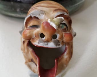 Cute 1940s Smoker Ashtray Man with Bee on Nose Made in Japan