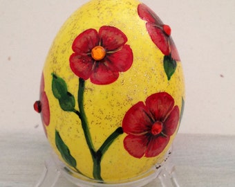 Hand Painted  Chicken Egg with Red Flowers on Yellow Glitter Background