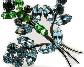 Stunning 1940's Blue and Green Bouquet Brooch