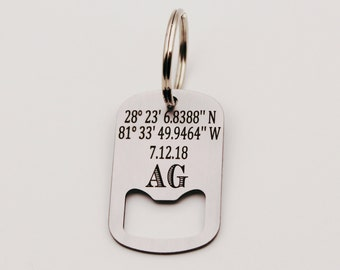 Custom GPS Coordinates, Date, Initials, Personalized Latitude Longitude Bottle Opener Keychain, Stainless Steel, Laser Engraved Key Chain