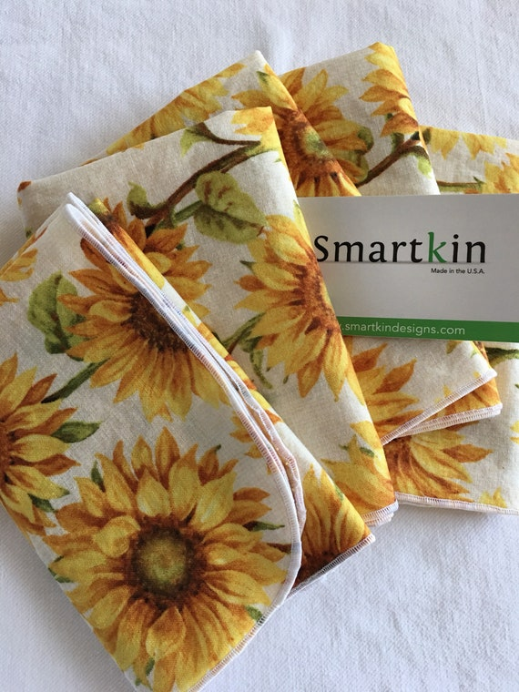 Mother's Day Cloth Napkin Yellow with Sunflowers All Cotton Cloth Napkin 12x15 in Size by Smartkin