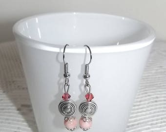 Coral earrings with charm.