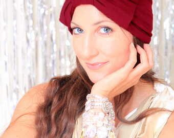 Burgundy Turban Hat with Bow - Womens Turban Headwrap - Fashion Hair Covering - Full Turban in Jersey Knit - Lots of Colors