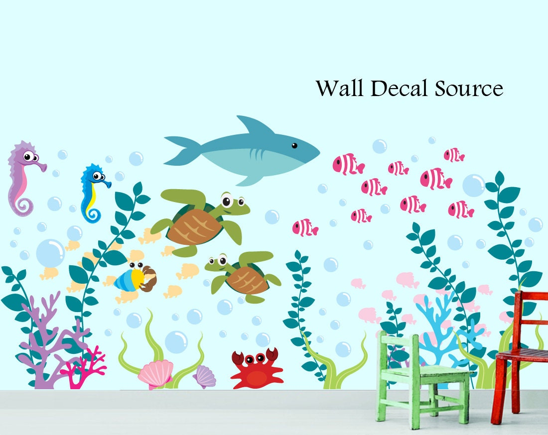 Aquarium wall decal under the sea oceanic wall decal zoom amipublicfo Choice Image
