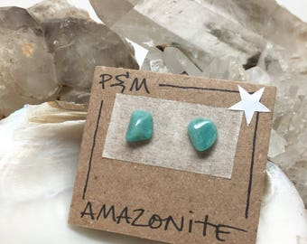 Amazonite Crystal Stud Earrings - Sterling Silver Posts - Raw Polished Stone - Natural Mineral Beauty