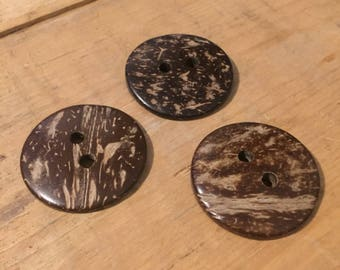 Large 38mm coconut buttons (lots of 5)
