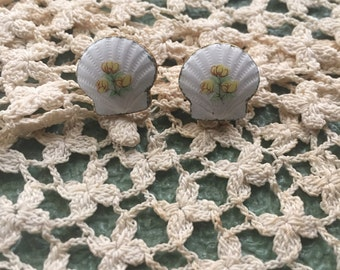 Vintage Guilloche enameled yellow rose shell earring studs