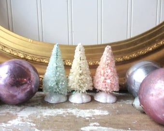 3 Pastel bottle brush Christmas trees small pale pink, aqua, cream glitter 2 1/2 inch mica bottlebrush putz trees Romantic Holiday Decor