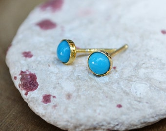 sleeping beauty arizona turquoise stud earrings in 14k YELLOW or ROSE gold fill /// tiny 4mm studs - december birthstone