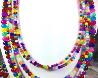 Multicolored Crackle Glass Beaded Statement Necklace - 5 strands.