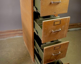 Reclaimed Vintage Open-Sided File Cabinet in Brown
