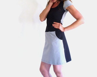 Dress with pockets, short sleeve, grey and black