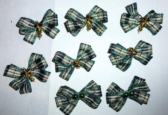 Puppy Bows ~8 green gold  EVERYDAY BOWS Yorkie Maltese Shih Tzu ~Usa seller (fb81)