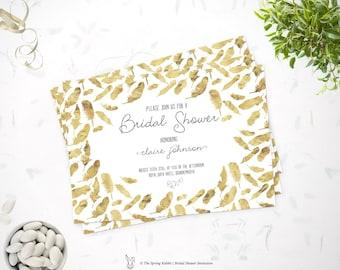 Printable Bridal Shower invitation - Gold Foil Leaf Invite -  Do it yourself Customizable  Printable Invitation