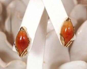 Vintage Ming's Hawaii Marquise Brownish Red Jade 14K Earrings