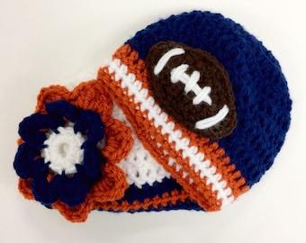 Boy Girl Twins Chicago Bears Baby Beanie Set Football Team Beanie photo prop crochet beanie (choose team)